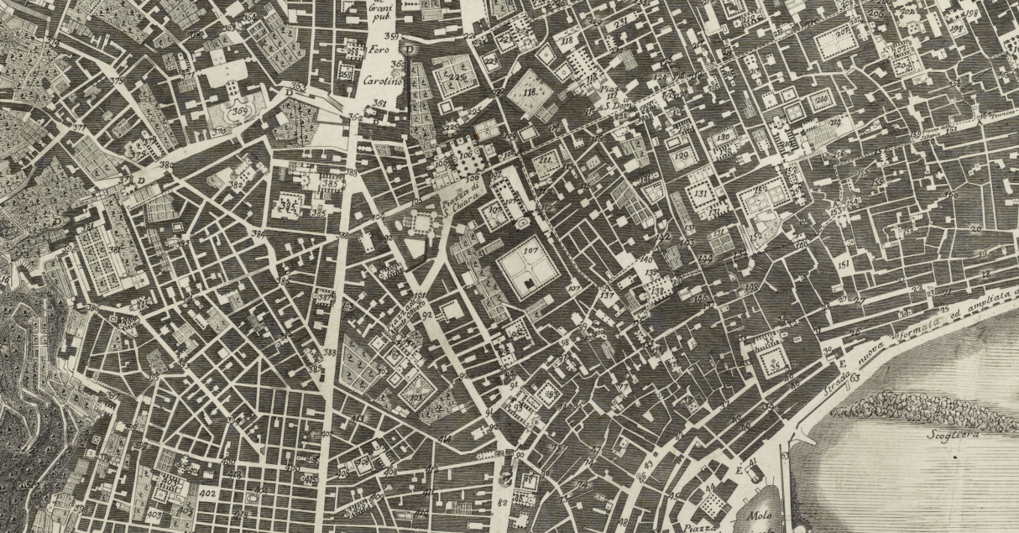 Giovanni Carafa Duke of Noja, Topographic map of the city of Naples and its surroundings, Naples 1750–75, part.