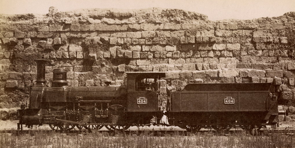 The Servian City Wall on the Esquiline Hill with a locomotive, Salted paper print, 3rd quarter of the 19th c., Photo: Lodovico Tuminello